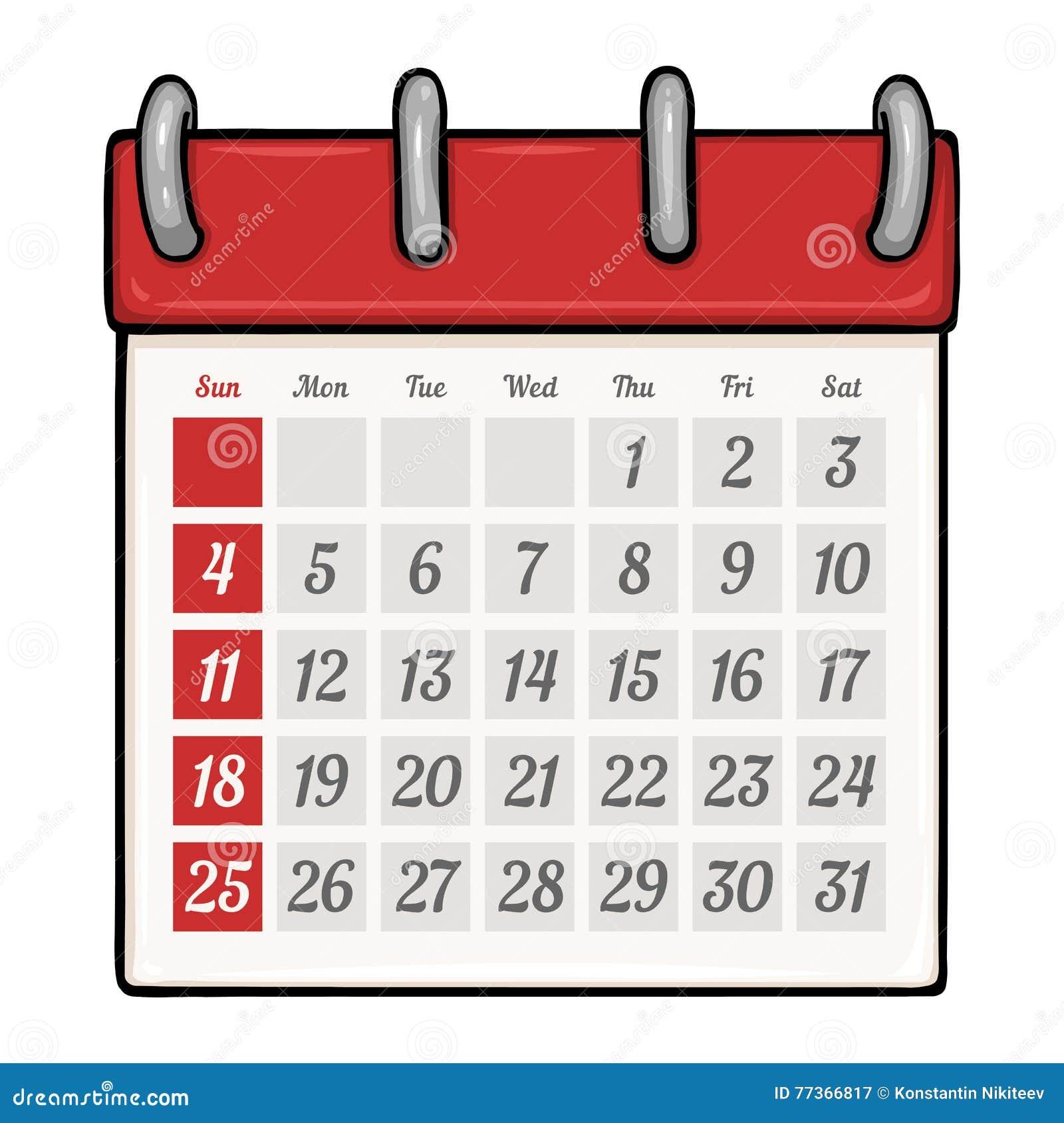Calendario De Folhas Soltas Dos Desenhos Animados Do Vetor