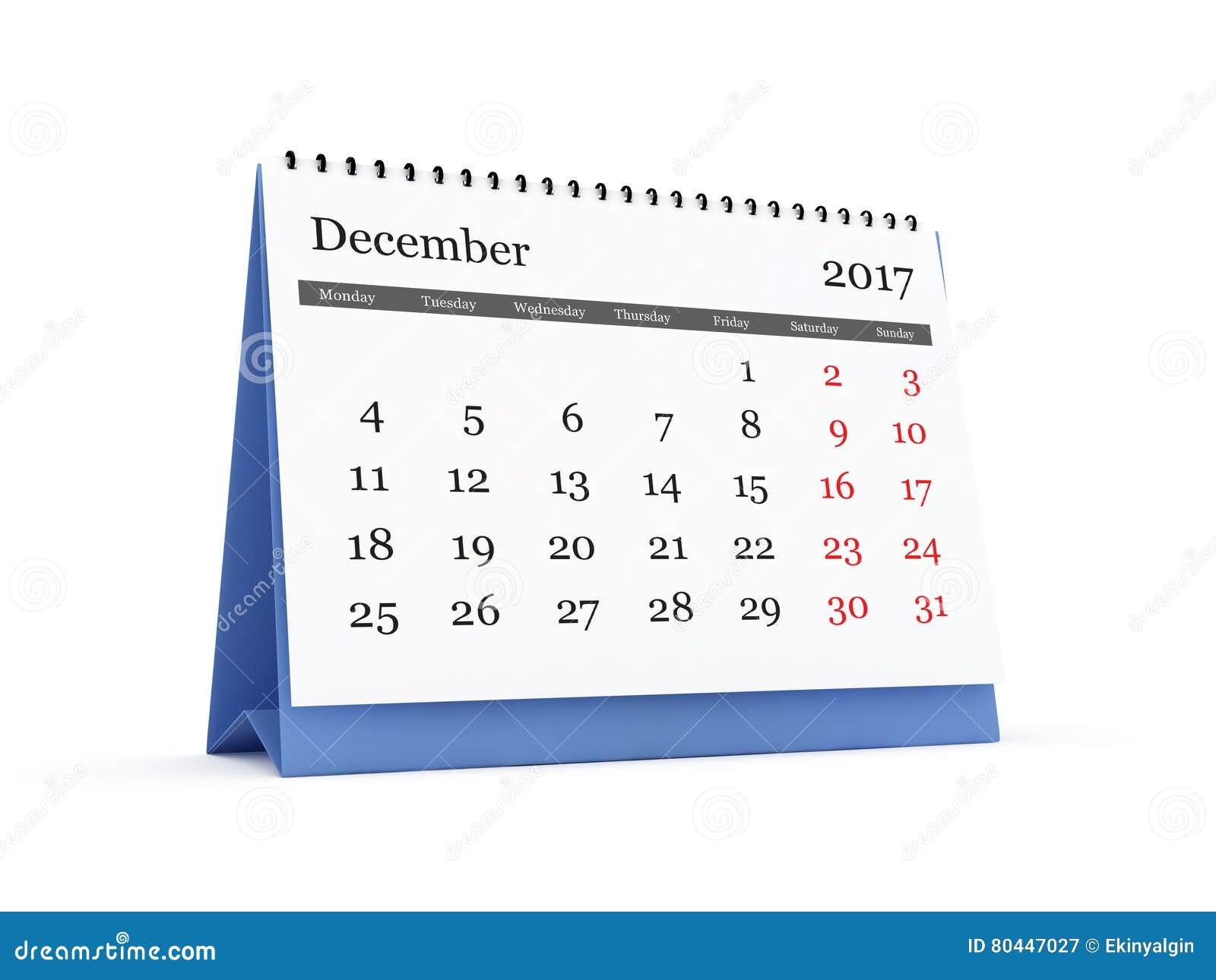 Calendário De Mesa 2017 Dezembro Ilustração Stock Ilustração De
