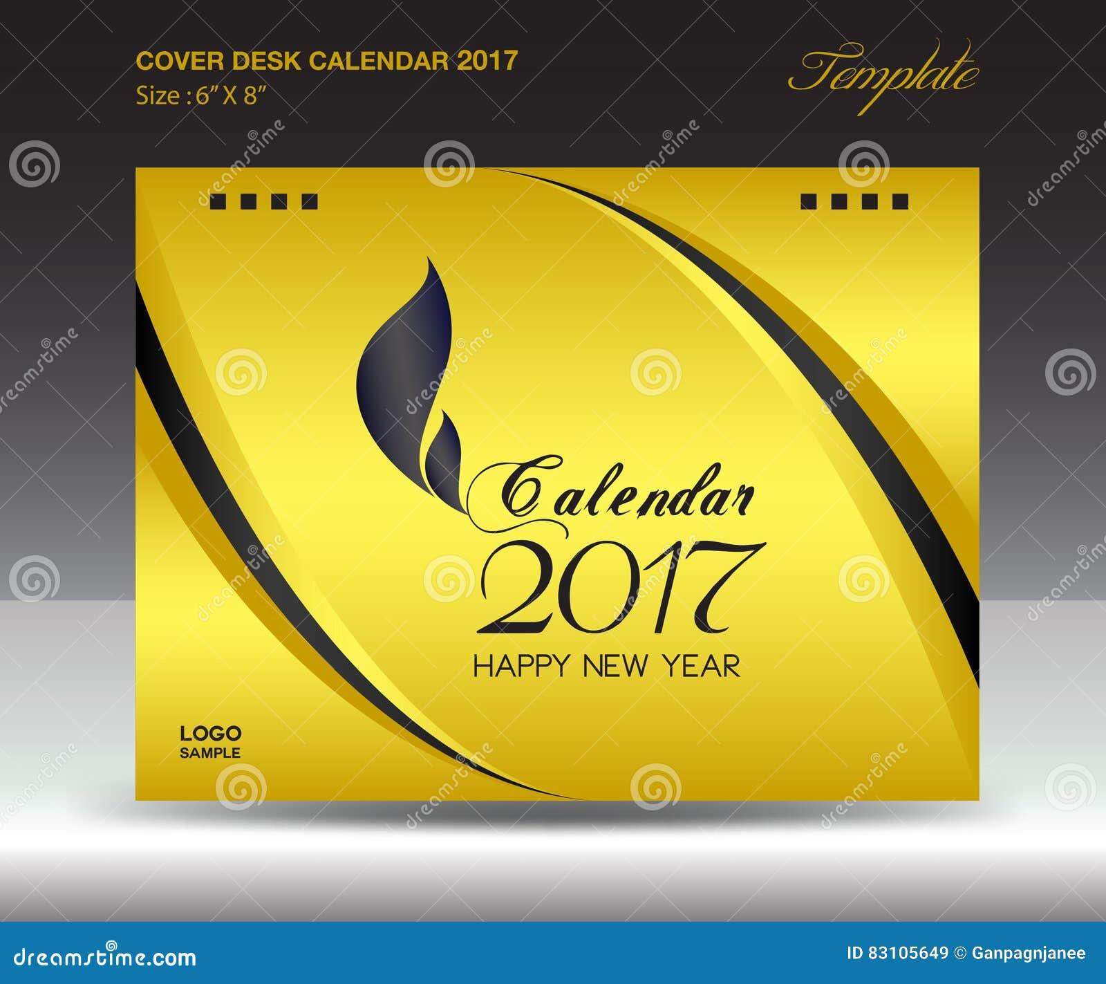 Calendário de mesa 2017 polegada horizontal, tampa do tamanho 6x8 do ano do ouro