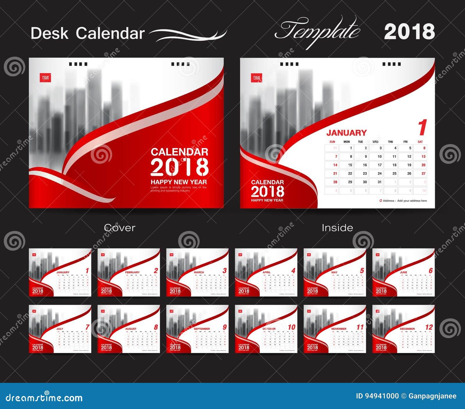 Calendário de mesa por 2018 anos, molde da cópia do projeto do vetor, vermelho