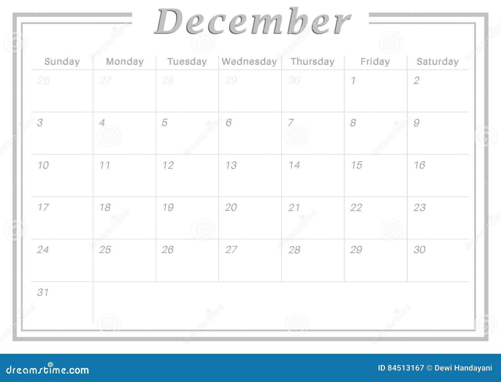 Calendário Dezembro De 2017 Mensal Ilustração Stock Ilustração De