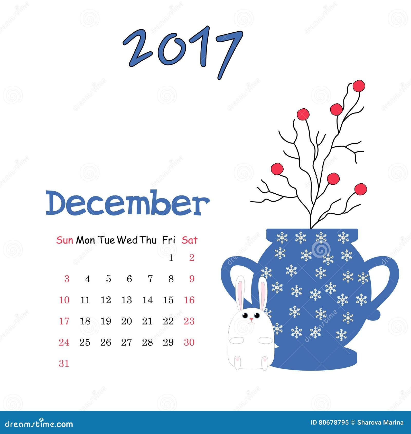 Calendário Dezembro De 2017 Molde Do Vetor A Semana Começa Domingo