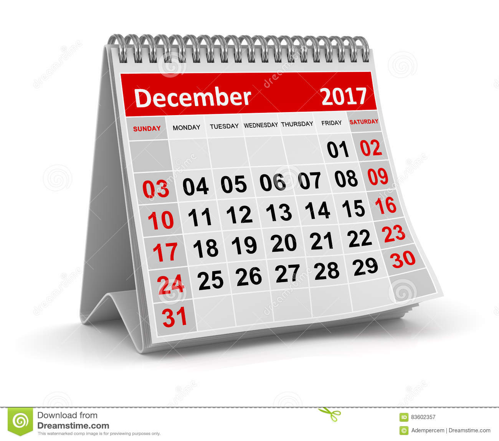 Calendário - em dezembro de 2017