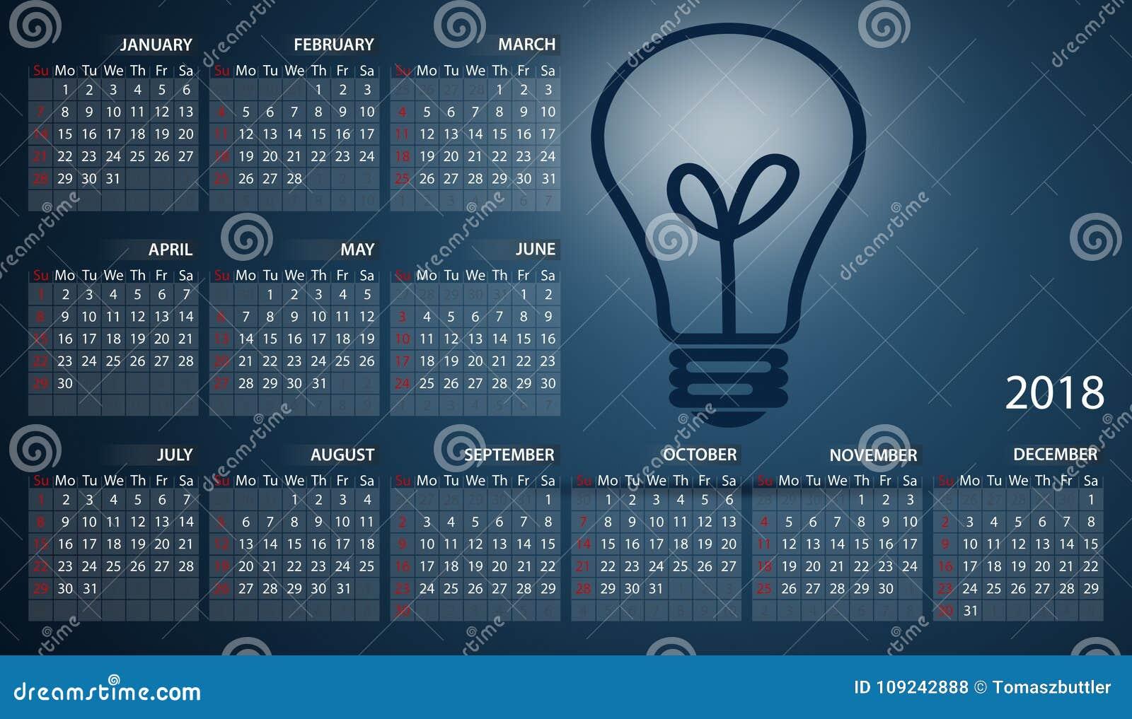 Calendário 2018 em inglês Começos da semana em domingo Ampola na obscuridade - fundo azul