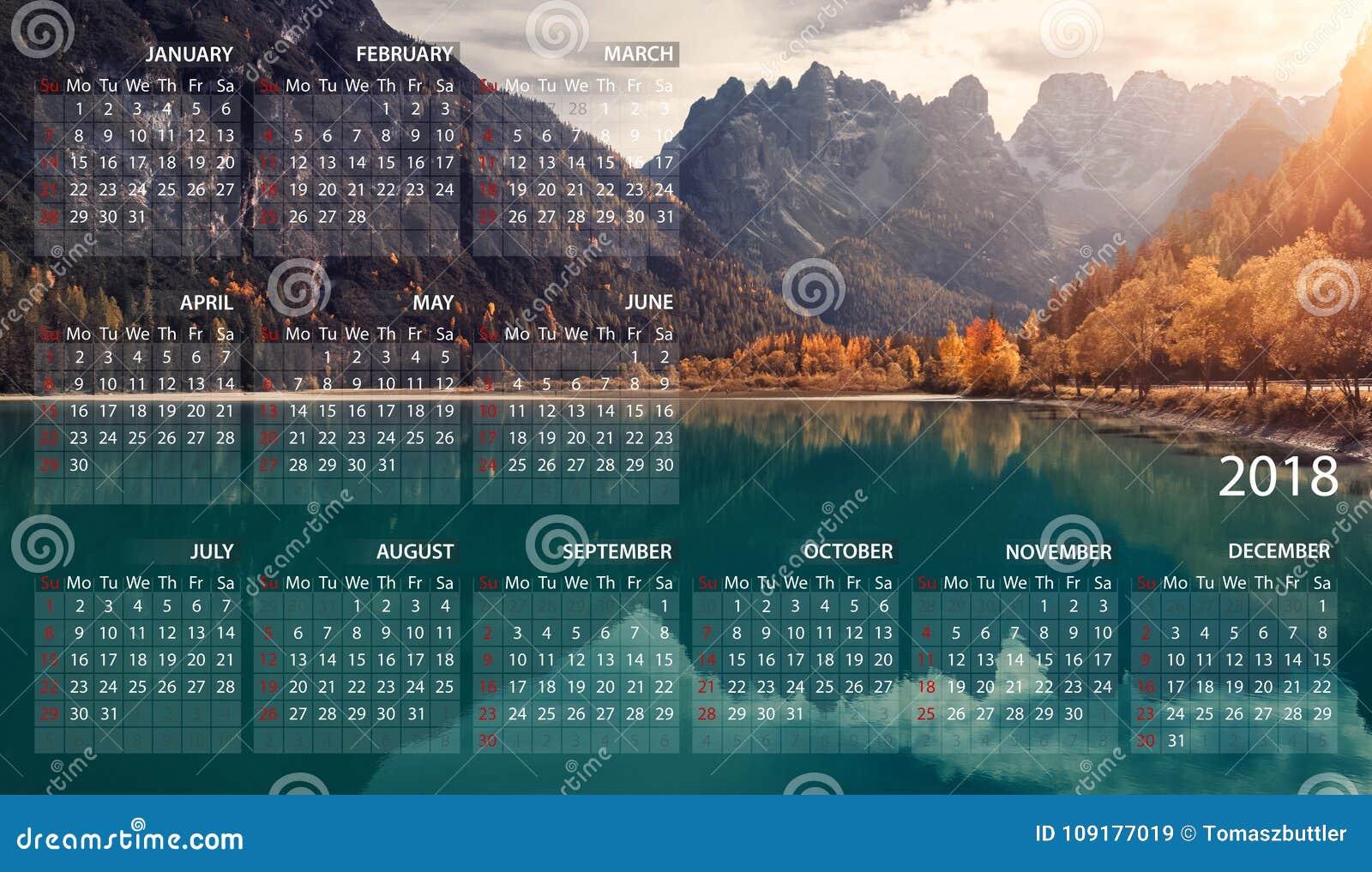 Calendario Panorama.Calendario 2018 Em Ingles Comecos Da Semana Em Domingo