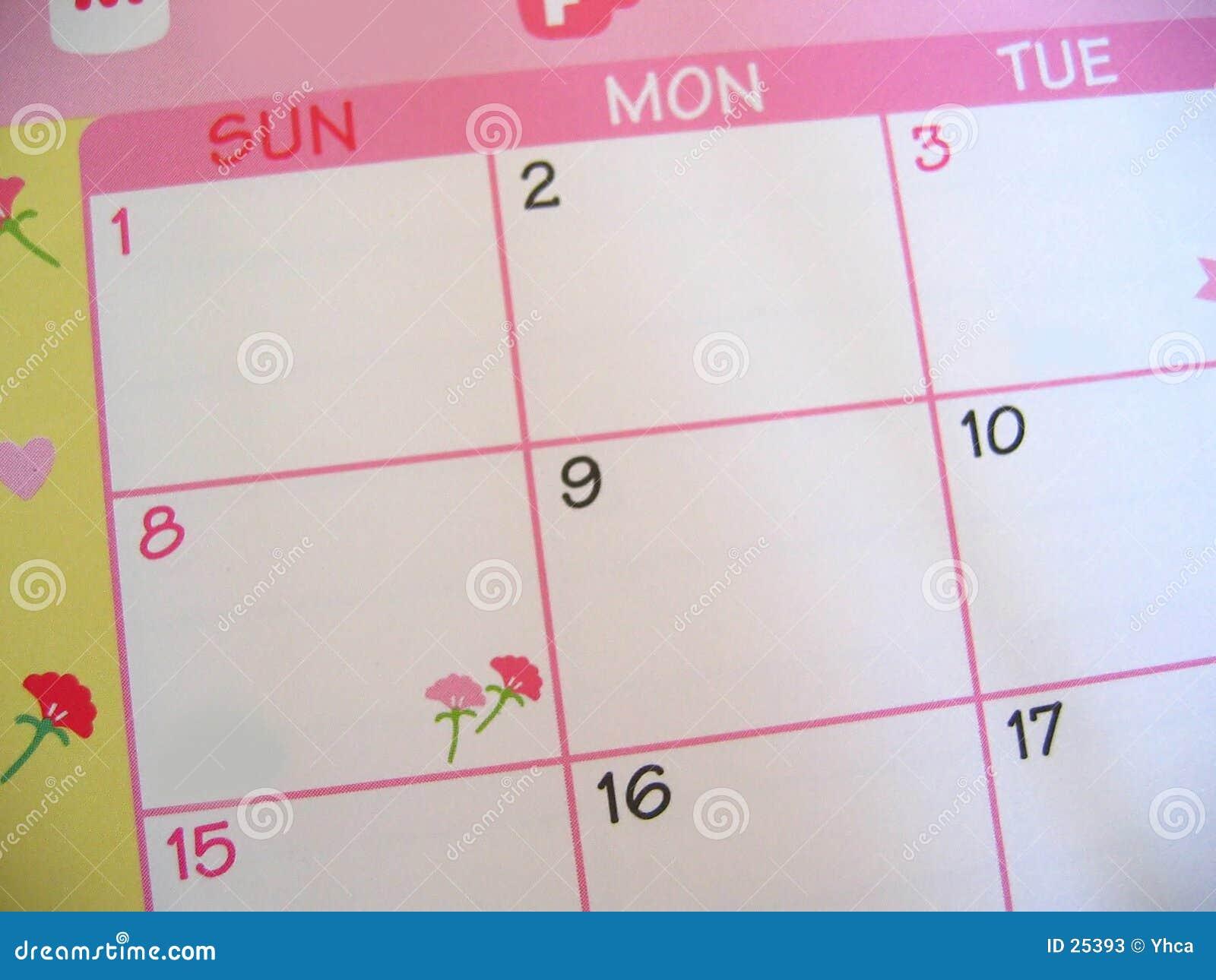 Calendário floral cor-de-rosa