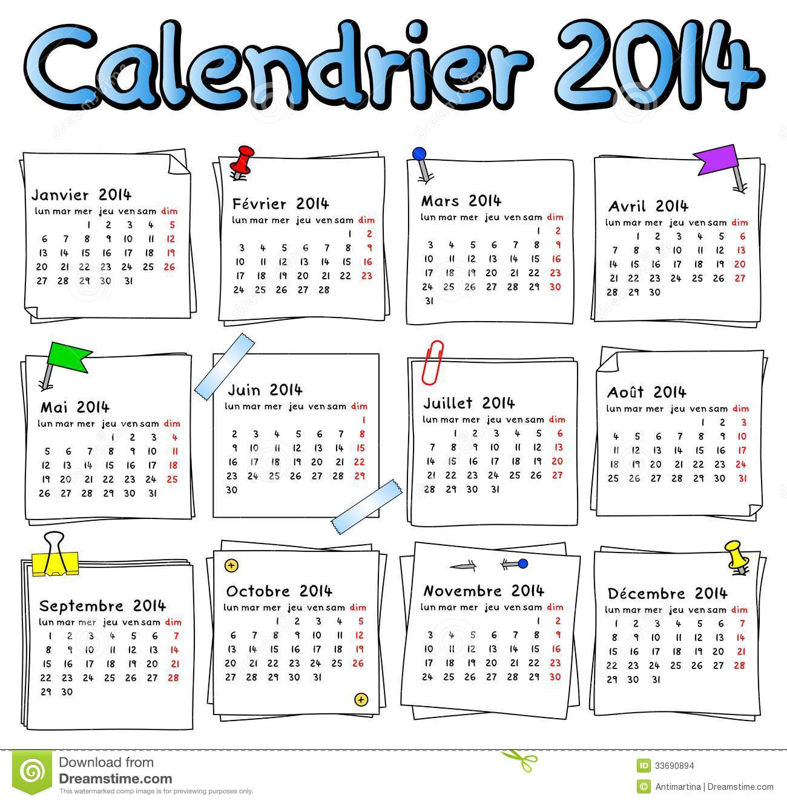 Calendario Frances.Calendario Frances 2014 Ilustracao Do Vetor Ilustracao De