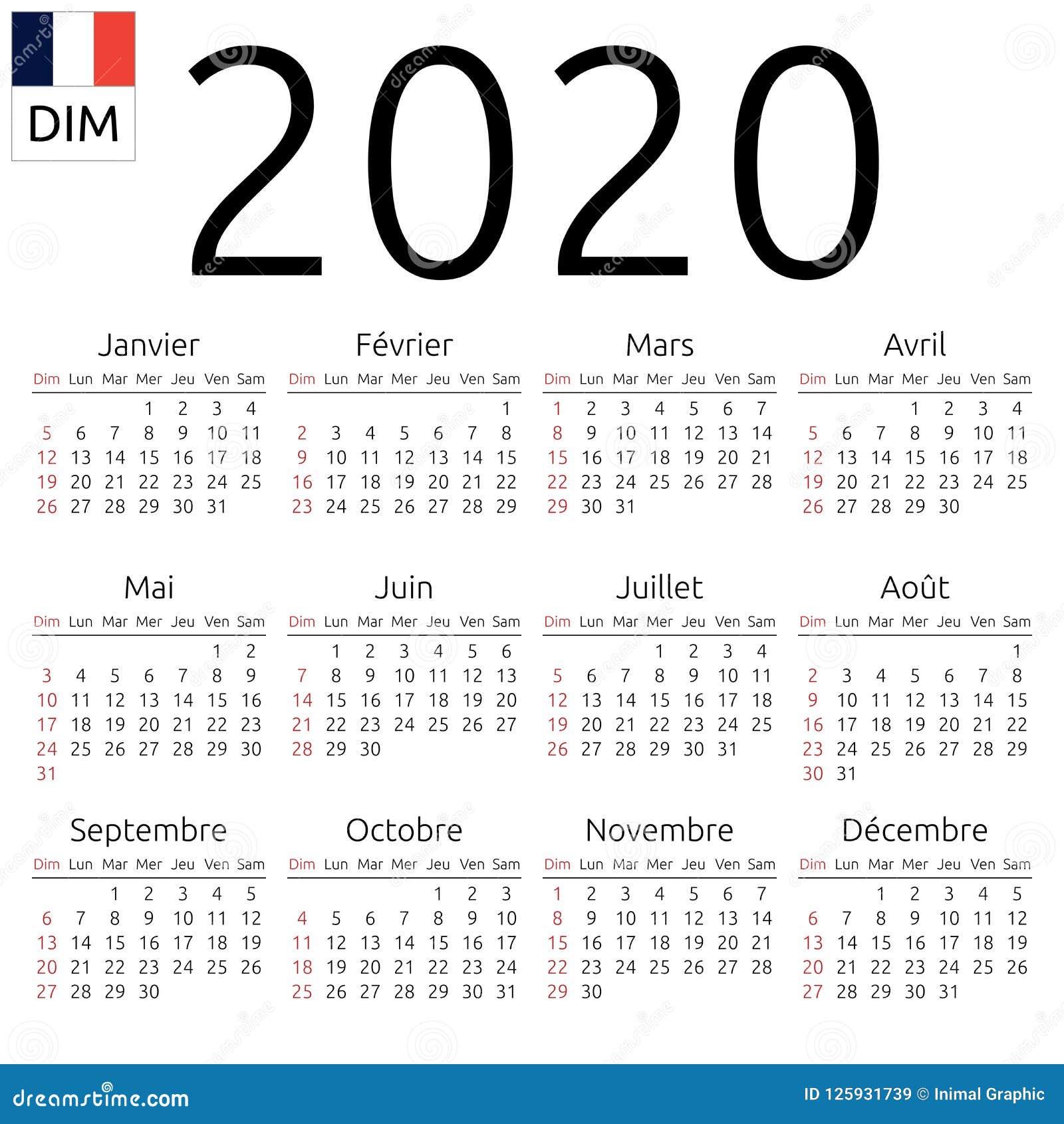 Calendario 2020 Com Feriados.Calendario 2020 Frances Domingo Ilustracao Do Vetor
