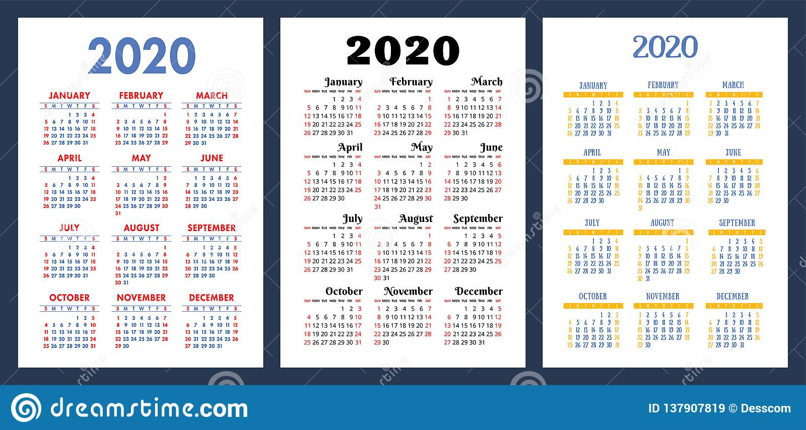 Calendario 2020 Semanas.Calendario 2020 Grupo Colorido Comecos Da Semana Em Domingo