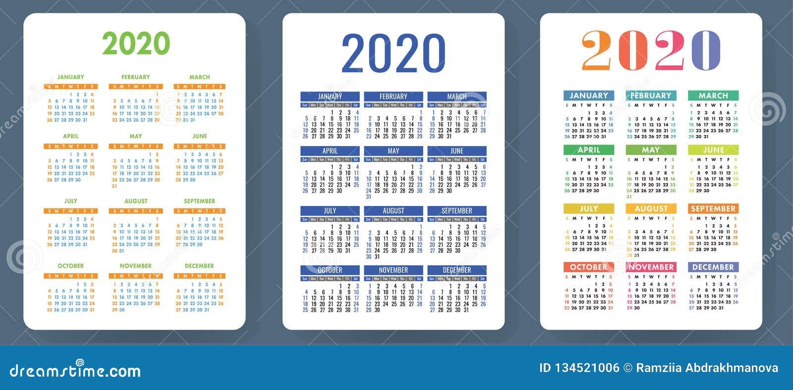 Calendario 2020 Semanas.Calendario 2020 Grupo Colorido Do Vetor Colecao Do