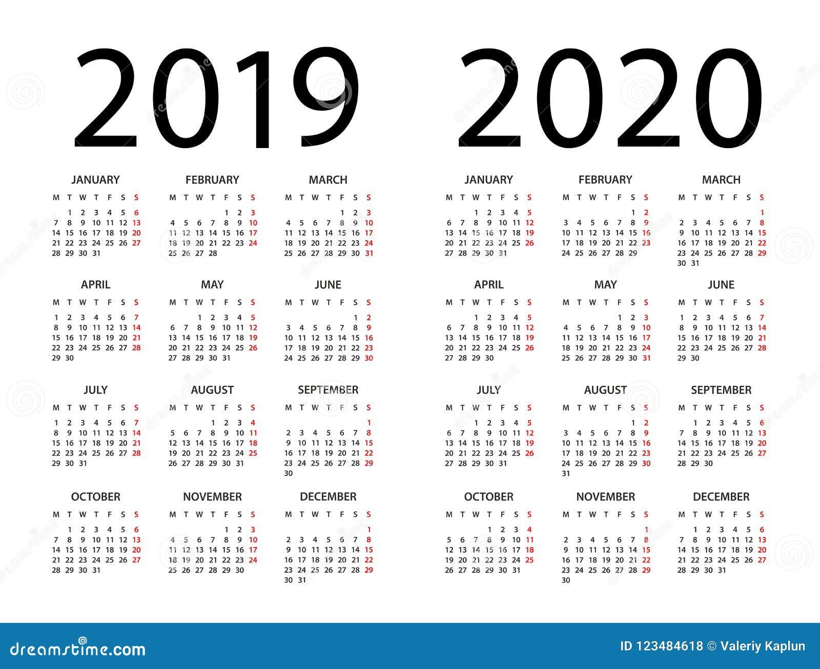 Calendário 2019 2020 - ilustração Começos da semana em segunda-feira
