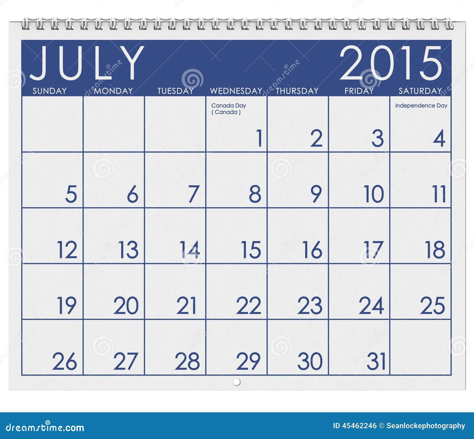 Calendário 2015: Mês De Julho Ilustração Stock - Ilustração de branco, mês: 45462246