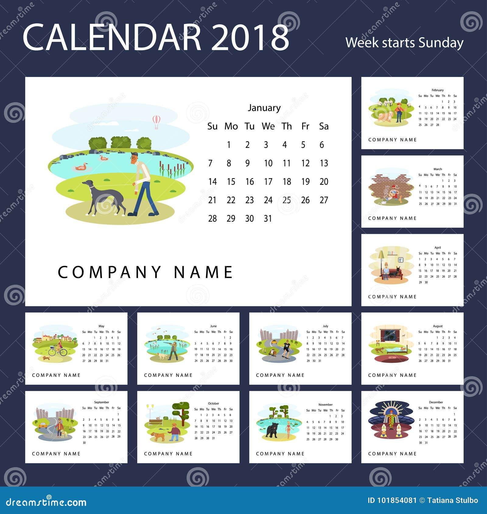 Calendário mensal 2018