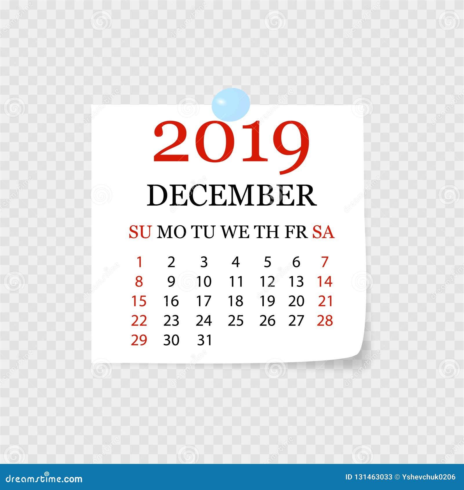 Calendário mensal 2019 com onda da página Calendário do rasgo-fora para dezembro Fundo branco Ilustração do vetor