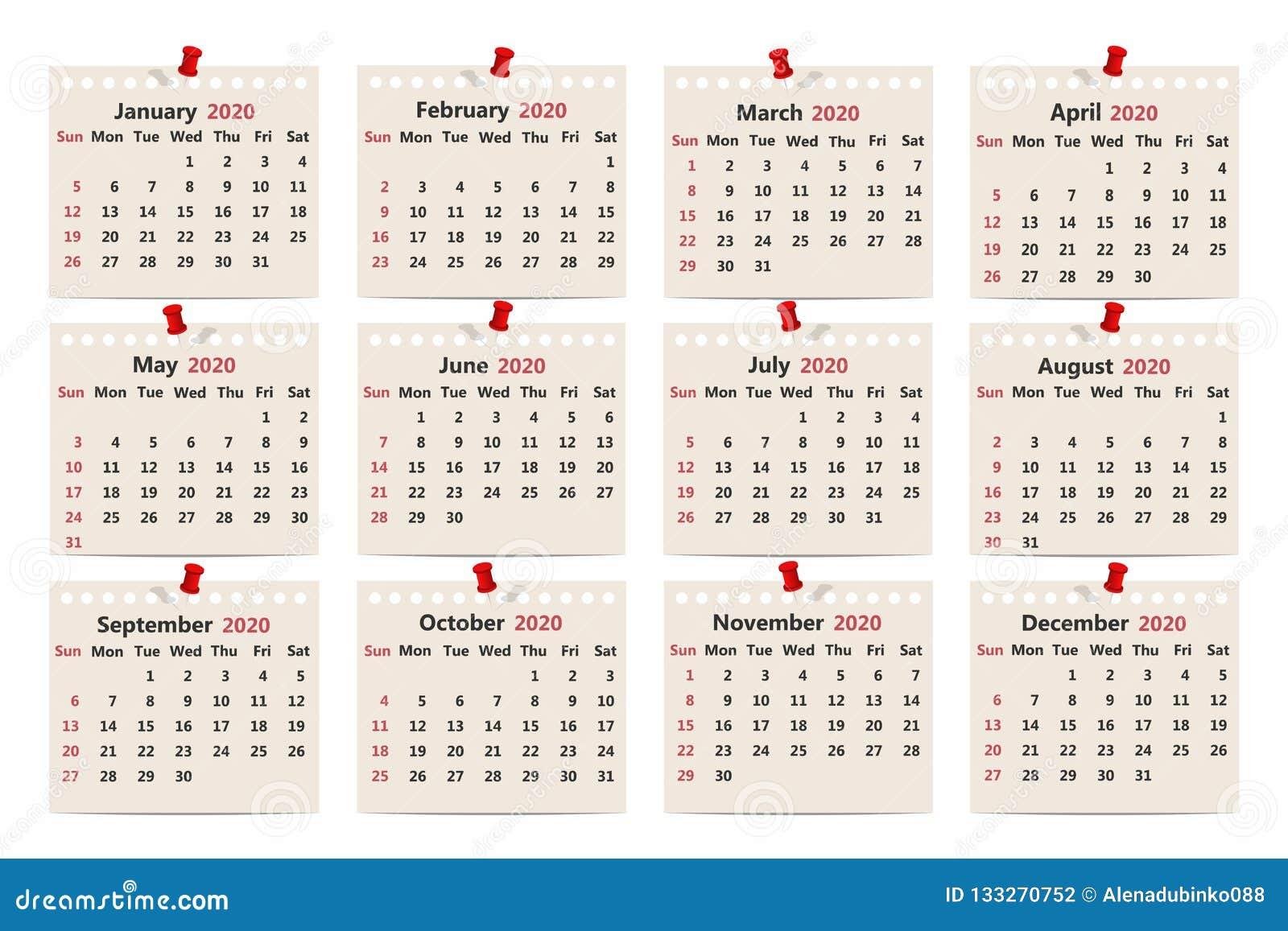 Calendario 2020 Semanas.Calendario 2020 Molde Mensal Do Calendario No Papel Velho