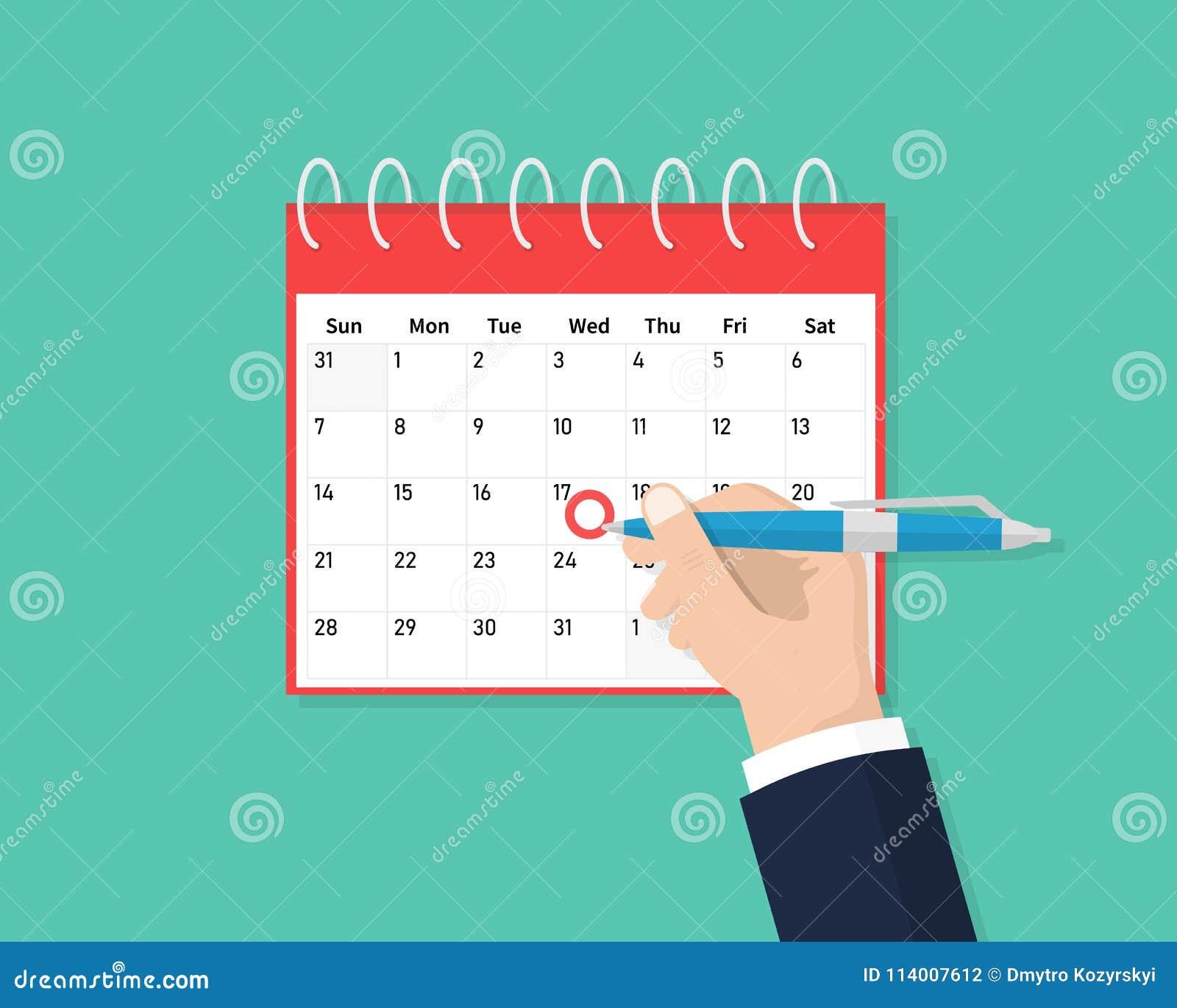 Calendário na parede e na mão que marcam um dia nela Excepto a tâmara Ícone liso do calendário Programação, nomeação, organizador