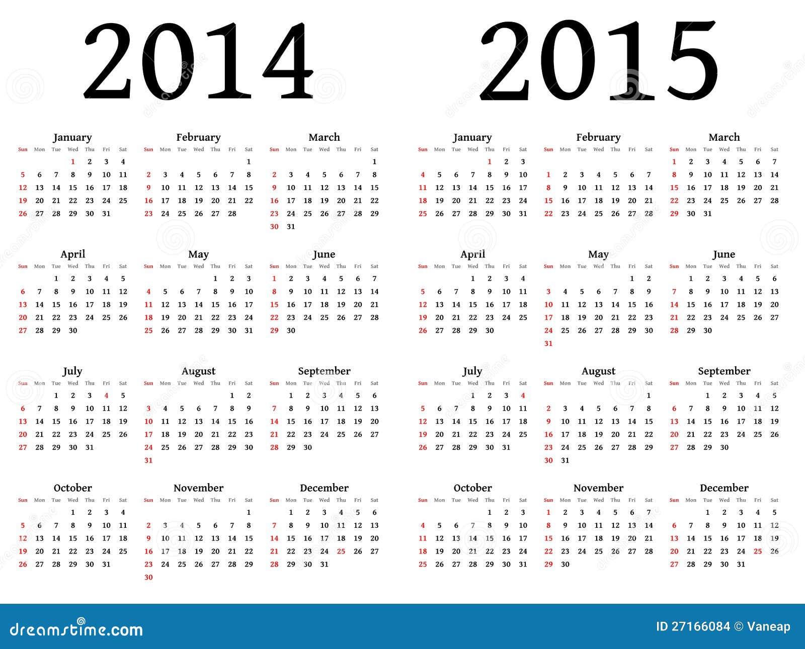 Calendário para 2014 e 2015 no vetor