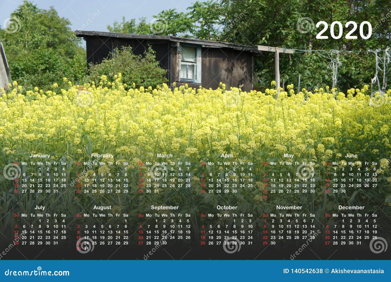Calendário para 2020