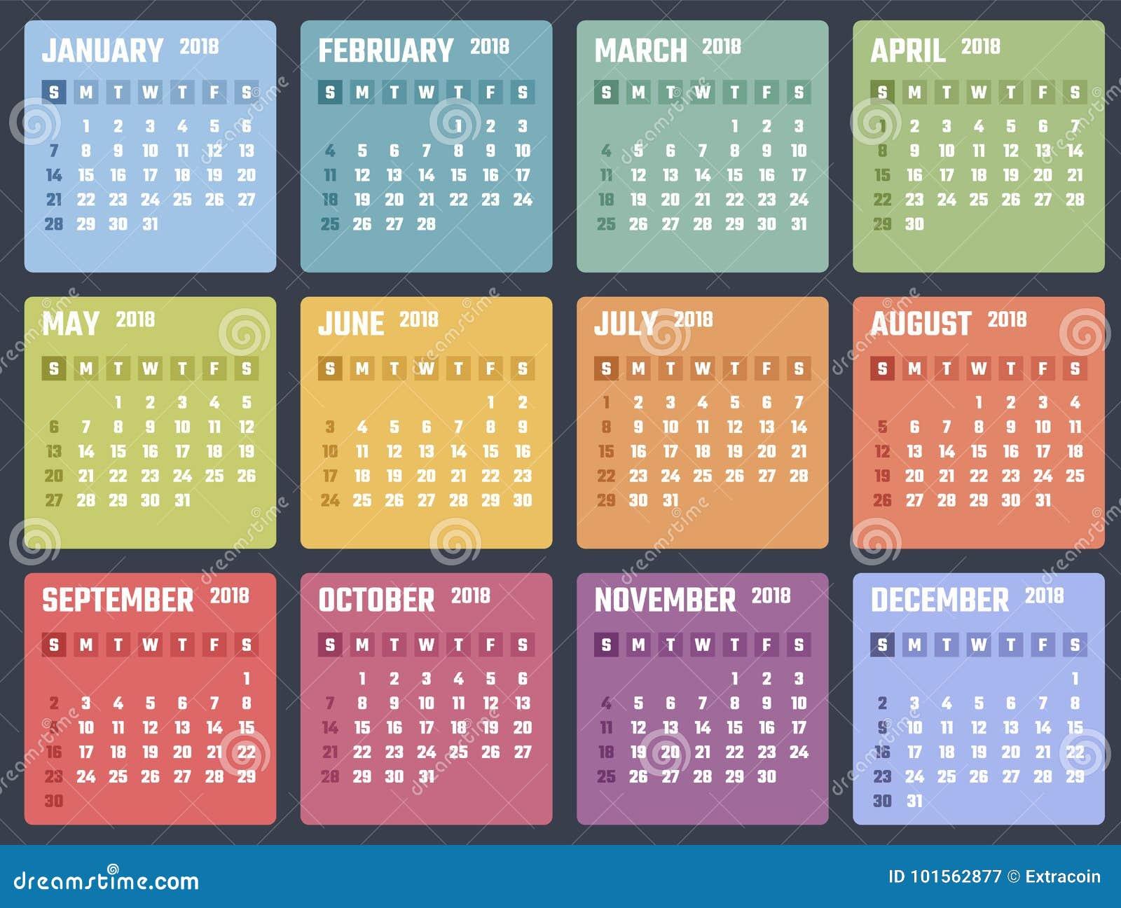 Calendário para 2018 começos domingo, projeto do calendário do vetor 2018 anos