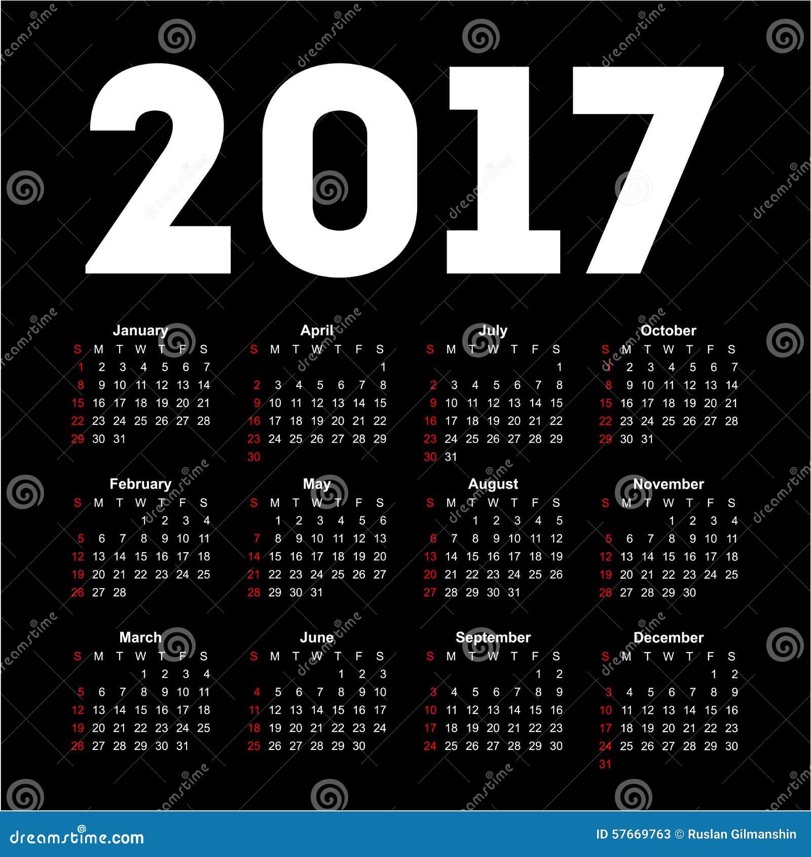 Calendário para 2017 no fundo preto