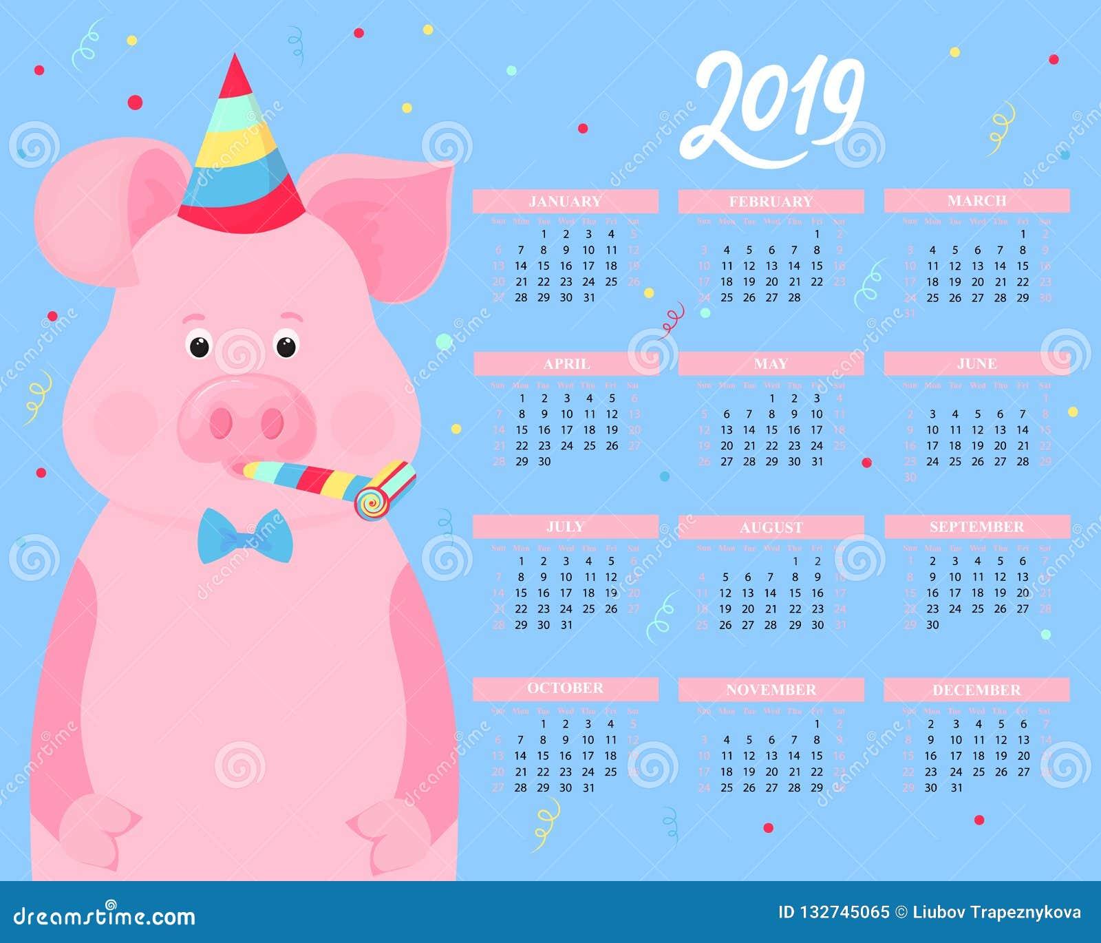 Calendário para 2019 Porco bonito em chapéus de um partido e em ventiladores listrados do chifre Animal engraçado Ano novo chinês
