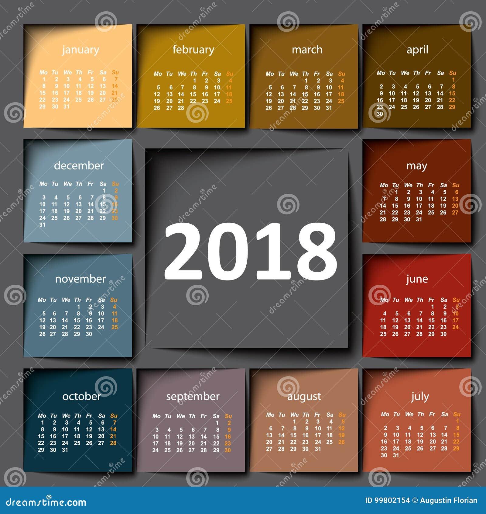 Calendário 2018 Post-it da cor