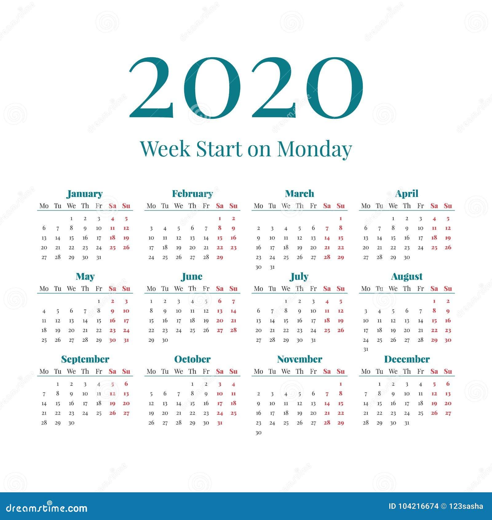 Calendario 2020 Planner.Calendario Simples De 2020 Anos Ilustracao Do Vetor