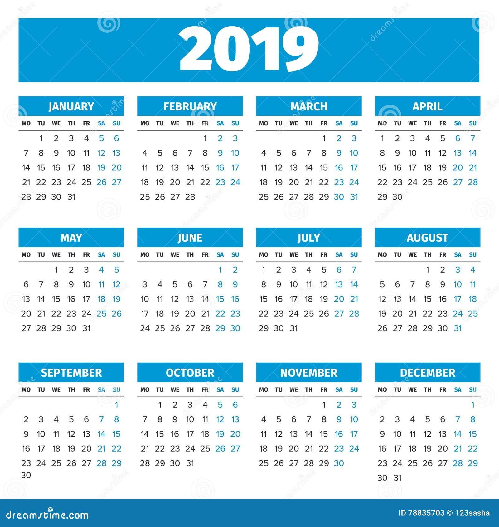 Calendário simples de 2019 anos