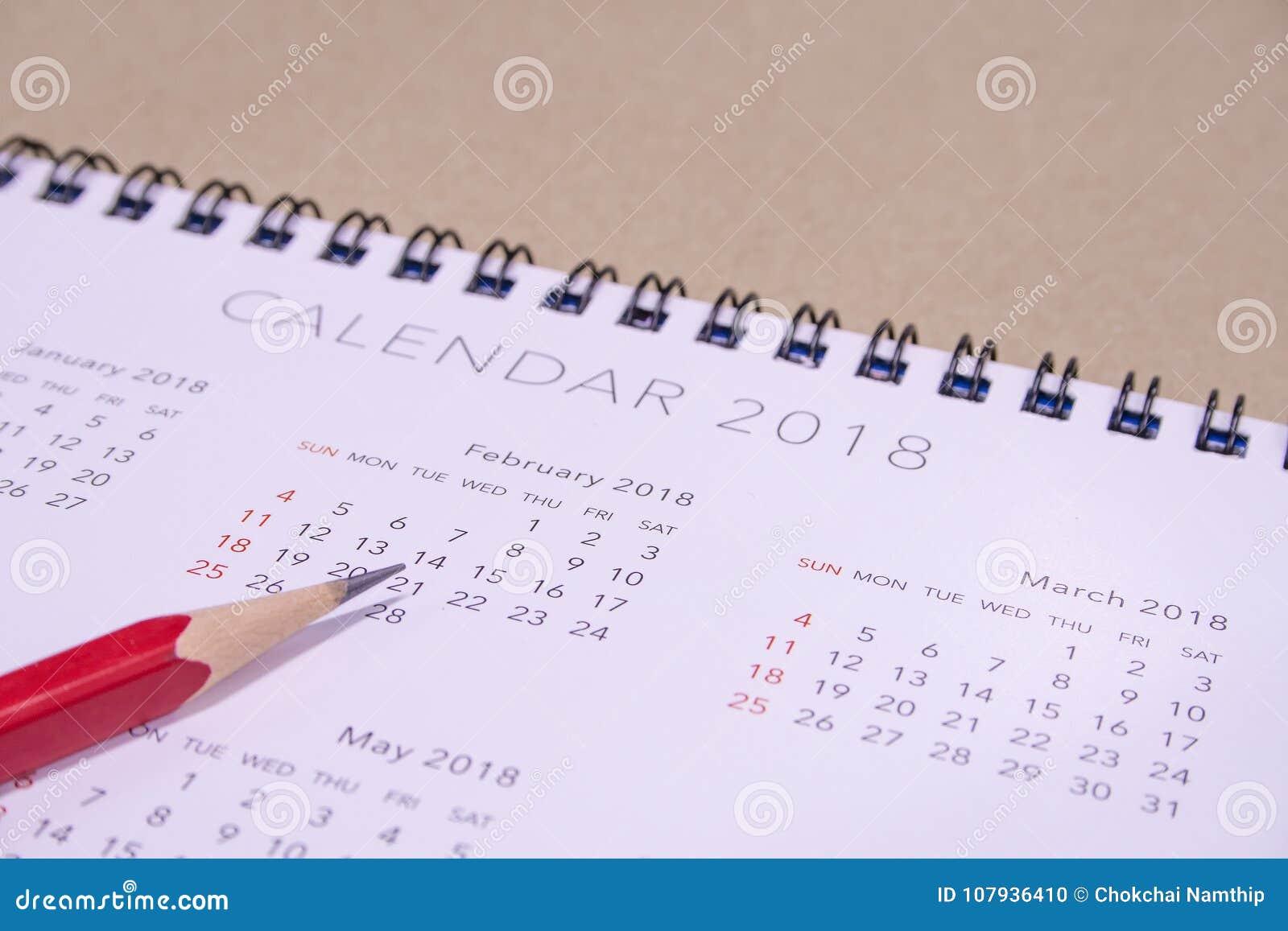 Calendário Valentim ` s dia do 14 de fevereiro de 2018