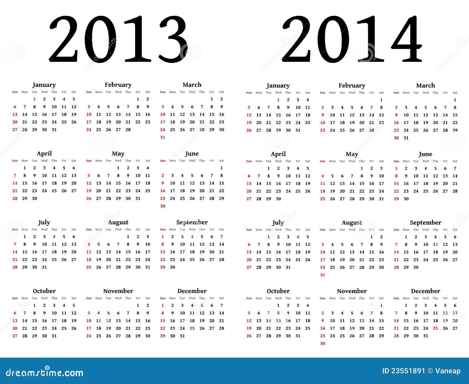 Calend  Rios Para 2013 E 2014  Para Para Ser Usado Por Desenhadores
