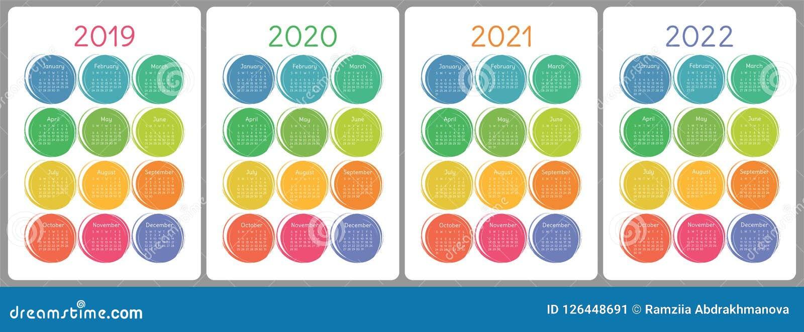 Calendar 2019, 2020, 2021, 2022 år Färgrik vektoruppsättning vecka