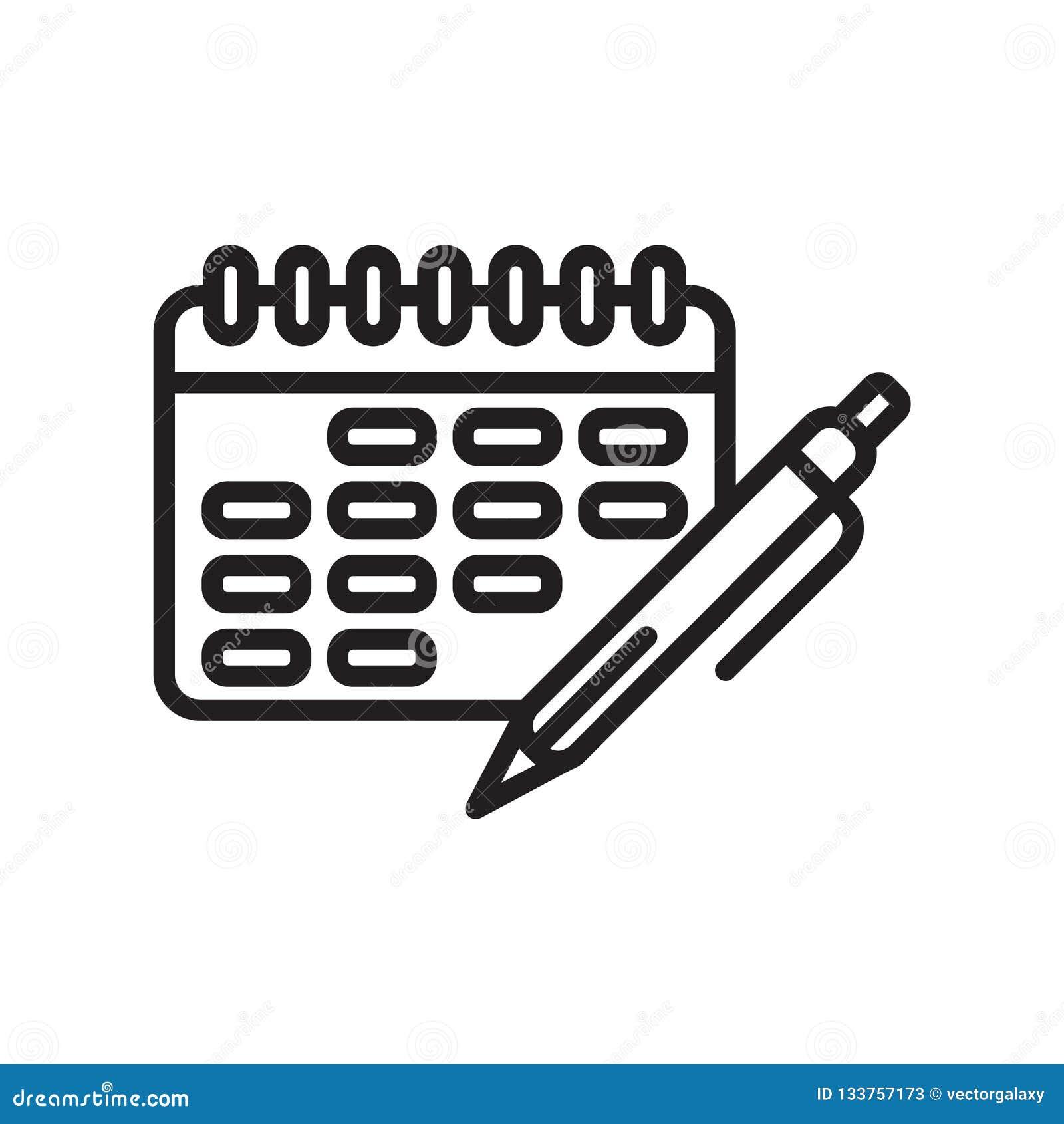 Calendar знак и символ вектора значка изолированные на белой предпосылке, концепции логотипа календаря