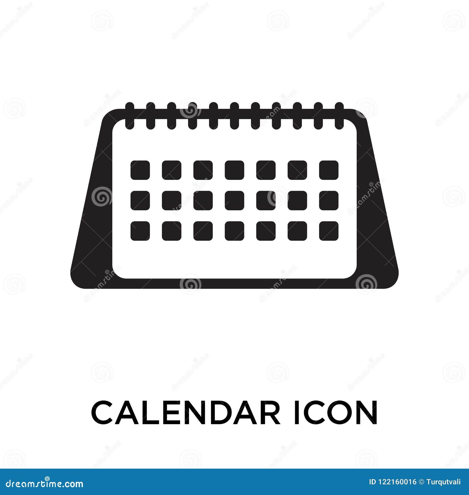 Calendar знак и символ вектора значка изолированные на белом backgroun