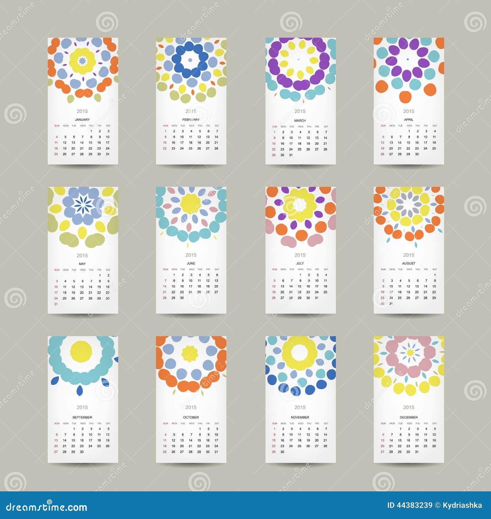 Calendar решетка 2015 для вашего дизайна, флористическая