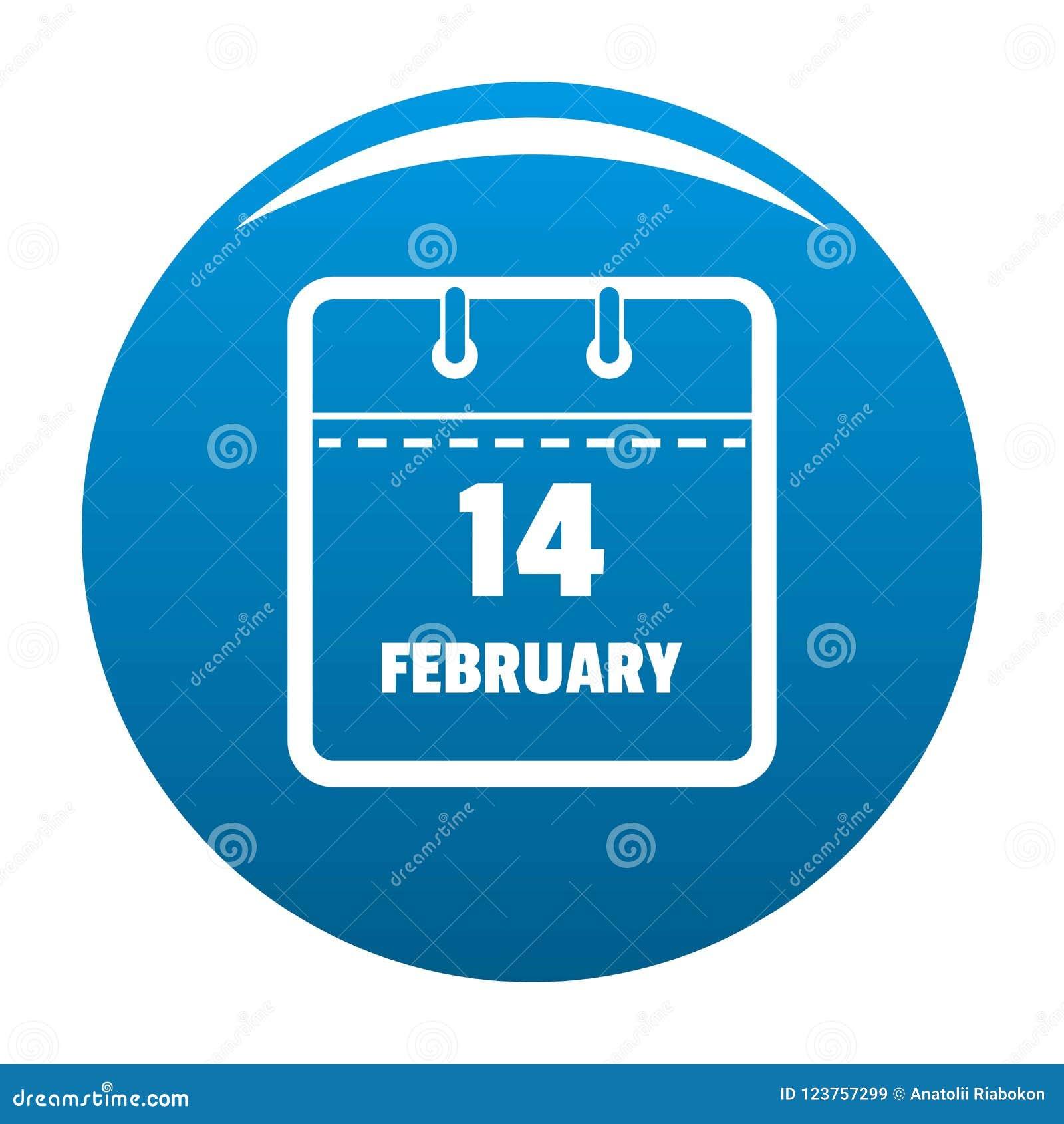 Calendar синь значка четырнадцатом -го в феврале