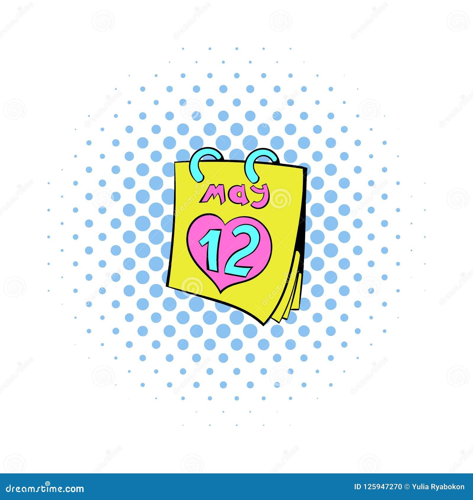 Calendar с значком даты дня матерей, стилем комиксов