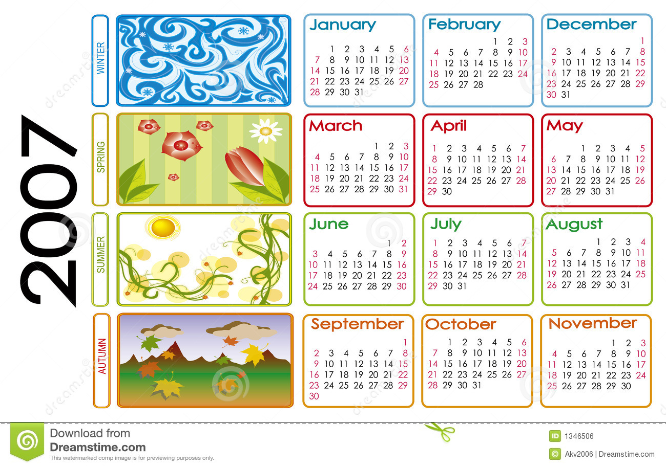 Calendar For 2007 Stock Illustration  Illustration Of Date