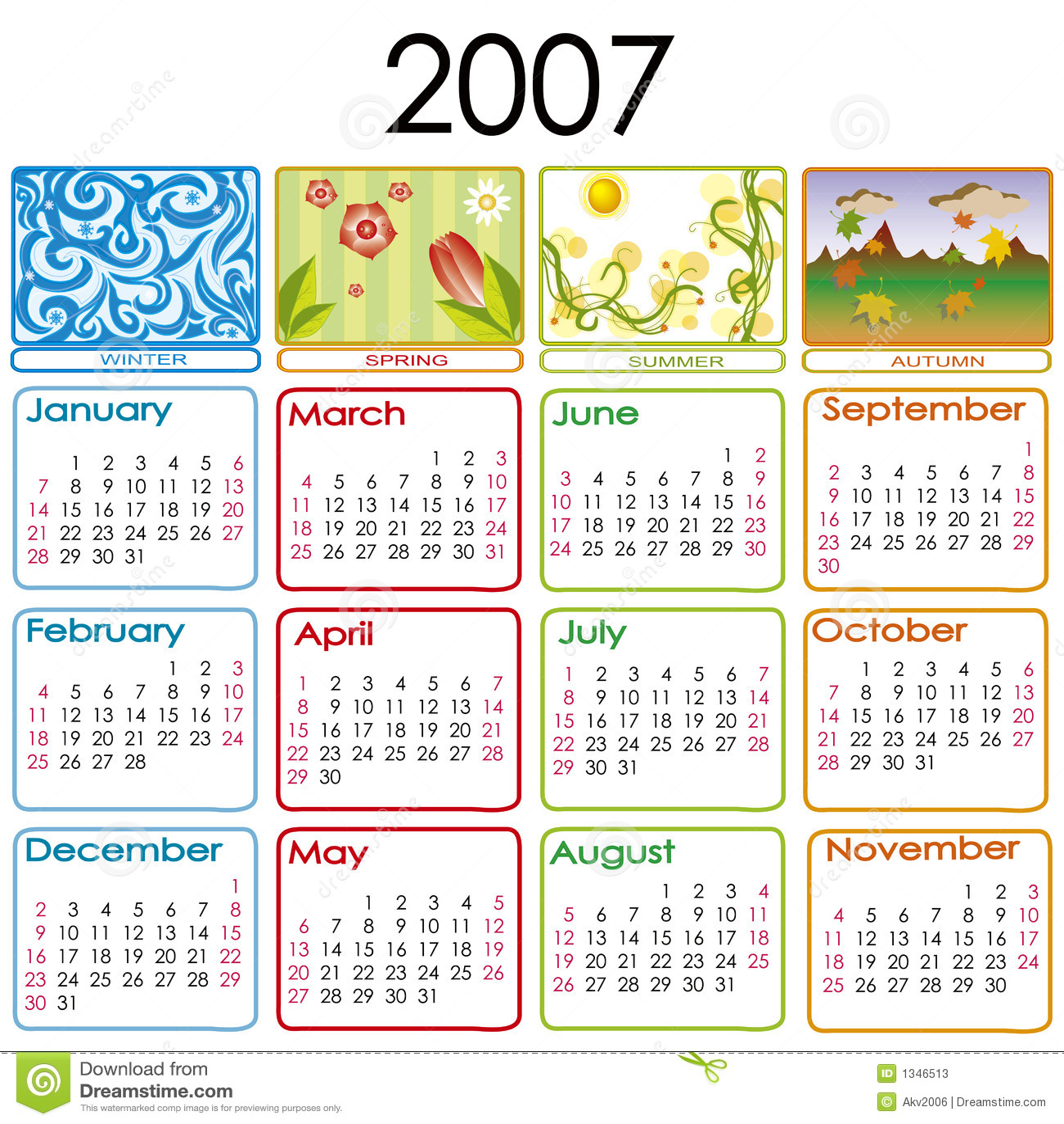Calendar For 2007 Stock Photos