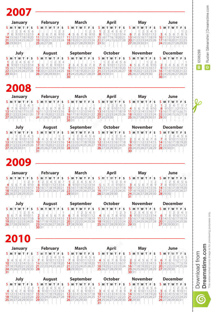 Calendar For 2007, 2008, 2009 And 2010 Royalty Free Stock ...