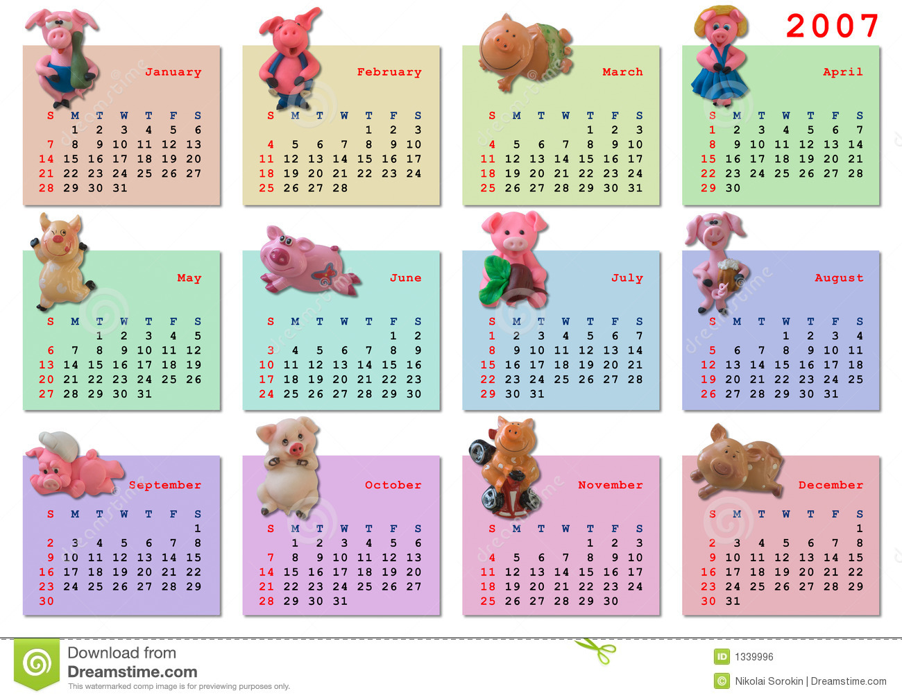 Calendar On 2007 Year Royalty Free Stock Image