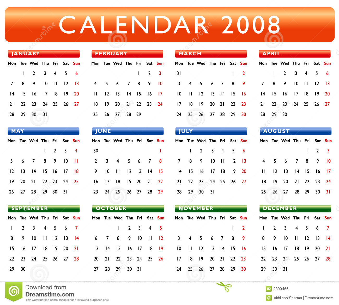Calendar 2008 Royalty Free Stock Image - Image: 2890466
