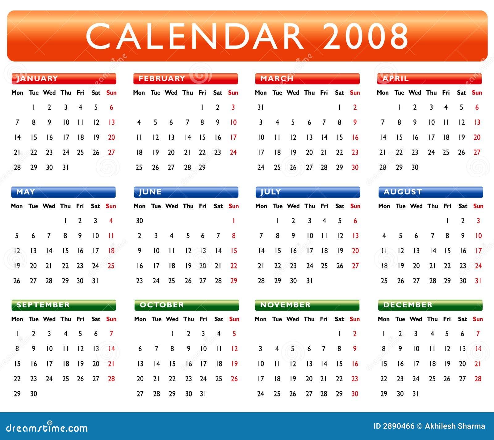 Calendar 2008 stock illustration. Illustration of ...