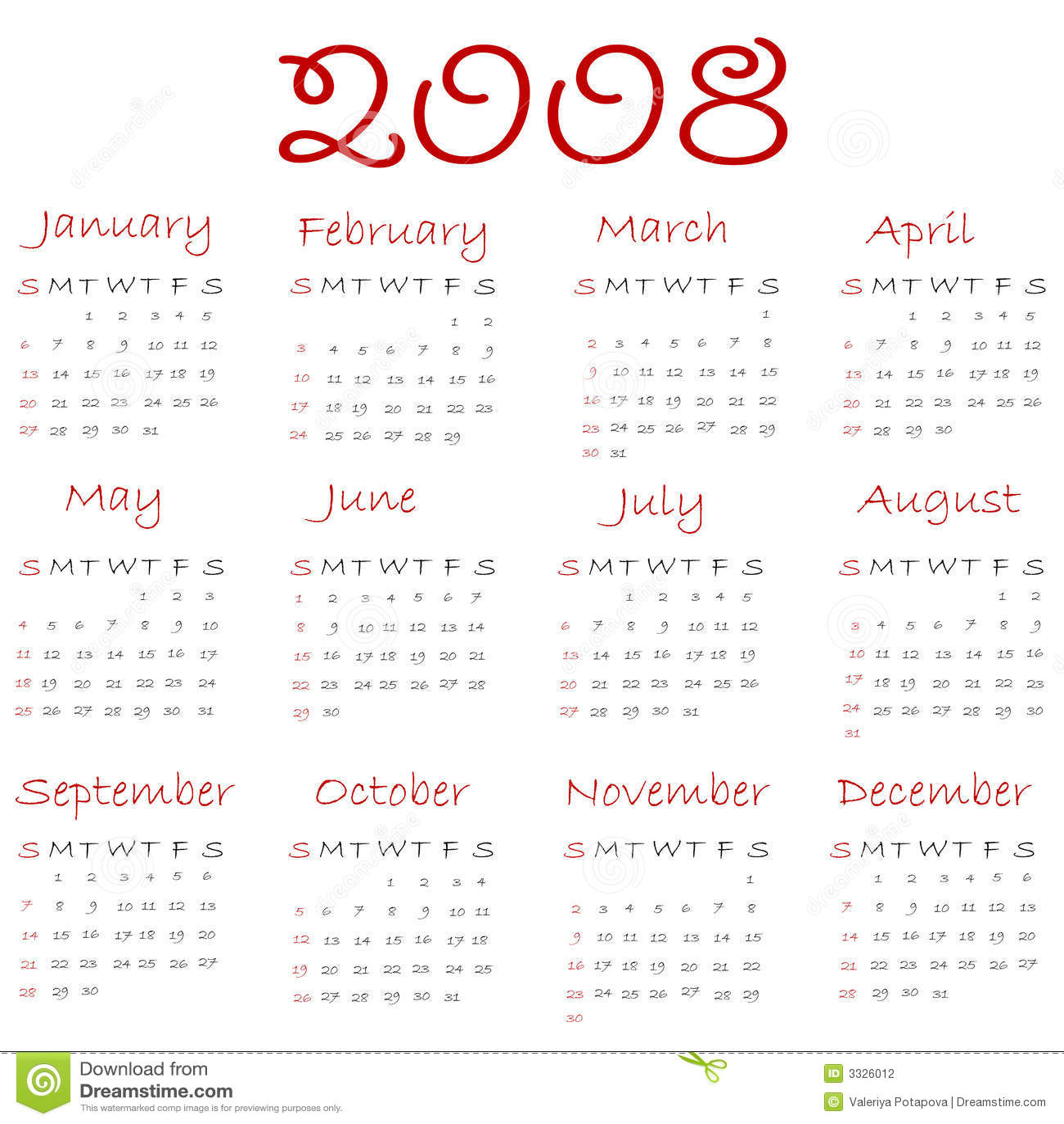2008 календарь: