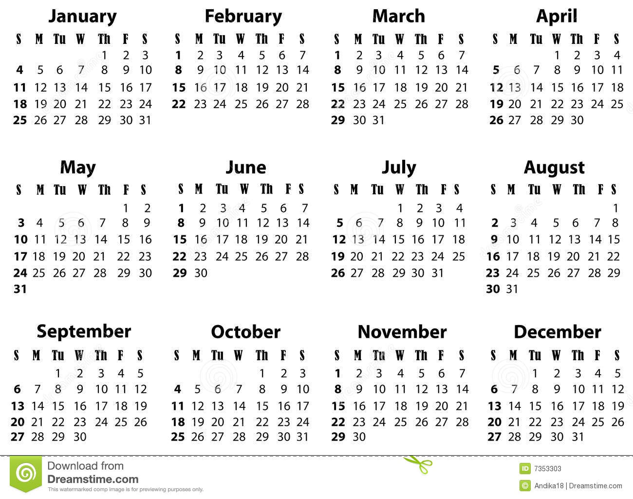 A Calendar For 2009 And 2020 Stock Image - Image: 7353303