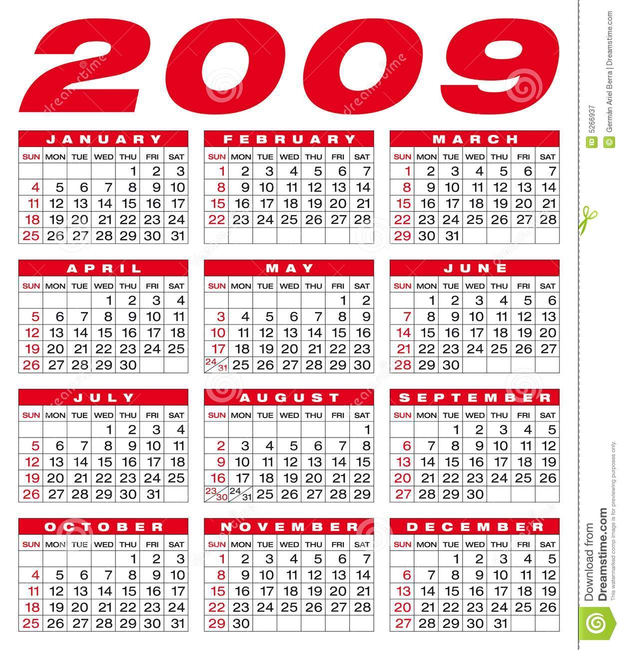 Calendar 2009 Royalty Free Stock Photography - Image: 5266937