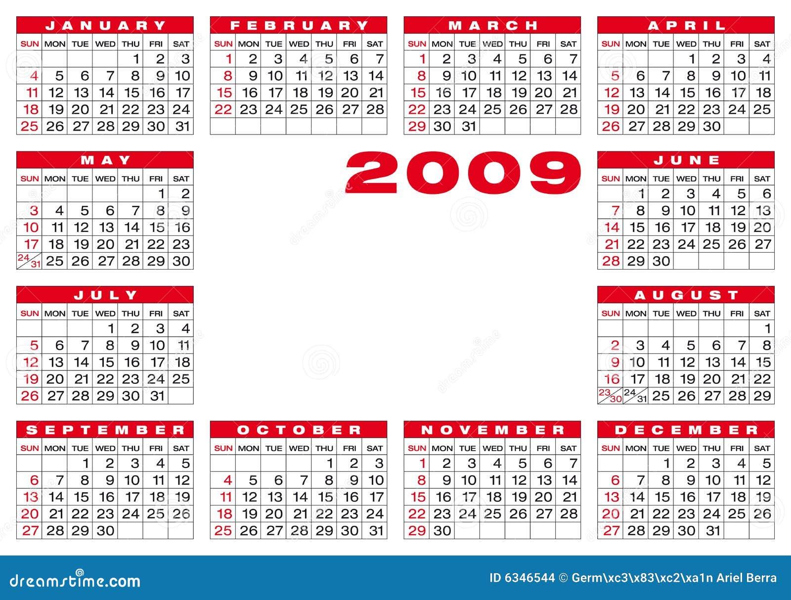 calendar 2009 stock vector  illustration of calender