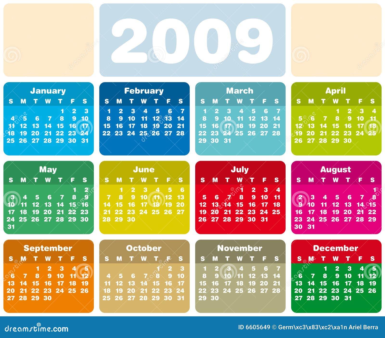 Calendar 2009 stock illustration. Illustration of present 7470274.