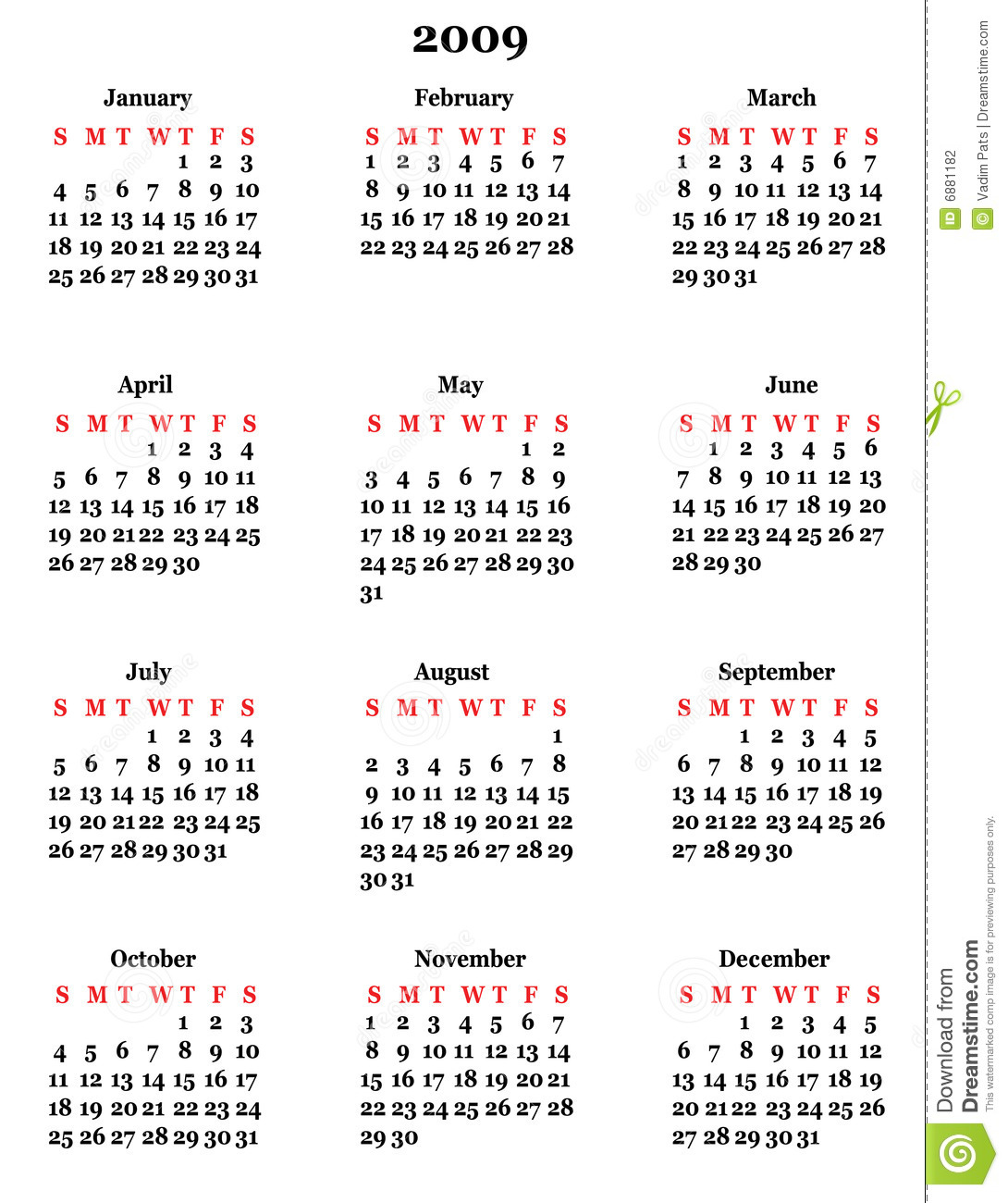 2009: Calendar 2009 Stock Photography