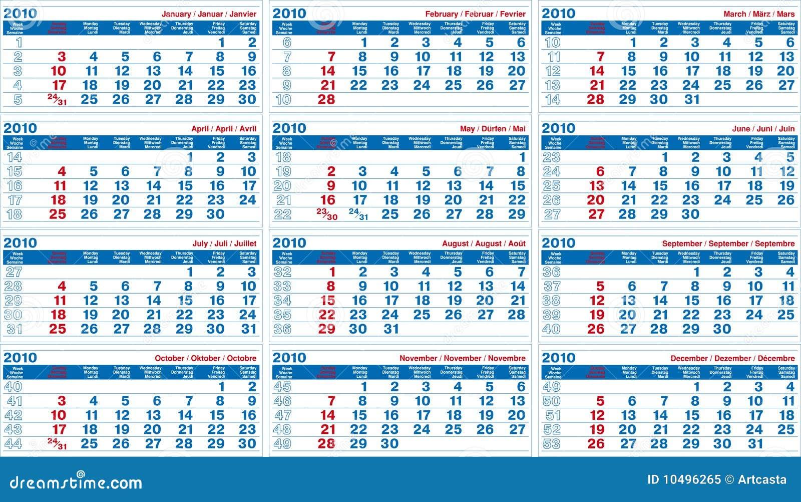 Calendar 2010 Royalty Free Stock Photo - Image: 10496265