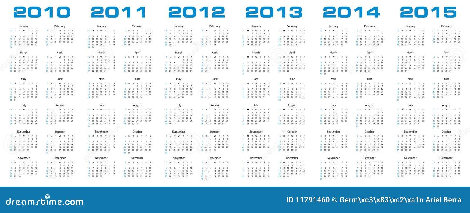 Calendar For 2010 Through 2015 Stock Photo - Image: 11791460